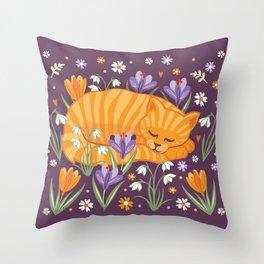 Sleepy Cat in a Spring Garden Throw Pillow