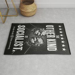 "Vintage ""The Other Kind of Socialist"" Alcoholic Lithograph Advertisement in shiny silver Rug"