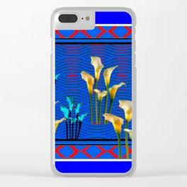 Blue Art White Calla Lilies Red Patterns Clear iPhone Case