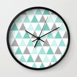 Black Stripes and Mint Triangles Wall Clock