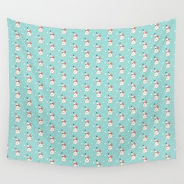 Modern teal white cute Christmas bear pattern Wall Tapestry
