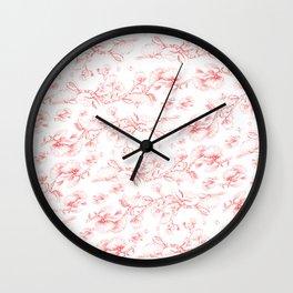 Red pohutukawa pattern Wall Clock