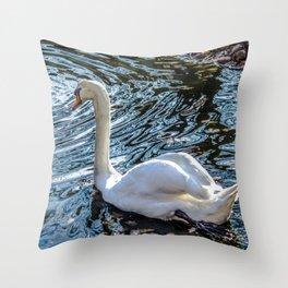 White swan with black feet Throw Pillow