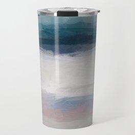 Dark Teal Blue, White, Pink, Light Blue Modern Wall Art, Ocean Waves Diptych Nursery Beach Decor Art Travel Mug