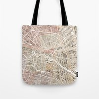 berlin Tote Bags featuring Berlin by Mapsland