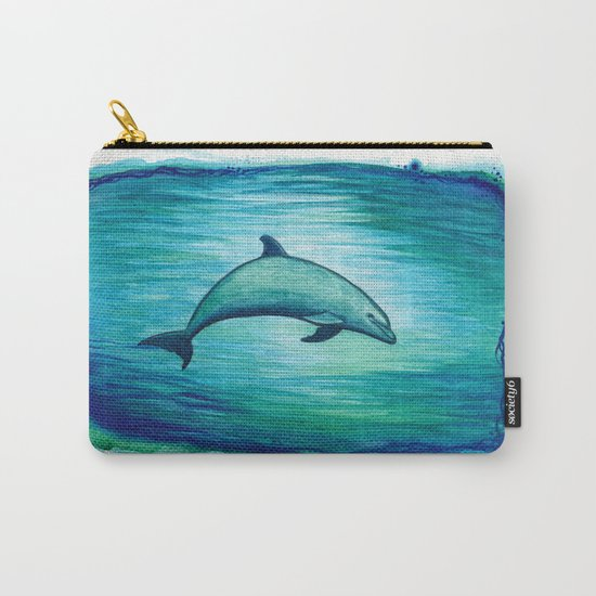 """""""Indigo Lagoon"""" by Amber Marine ~ Watercolor Dolphin Painting, (c) 2015 Carry-All Pouch"""
