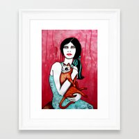 kitty Framed Art Prints featuring Kitty by LisaMMurphyArt