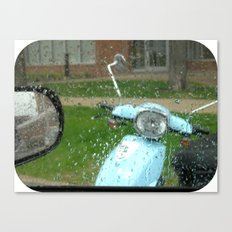 rainy day scooter Canvas Print