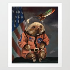 The Sloth Space Cadet Art Print