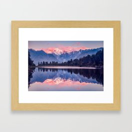 Southern Alps from Lake Matheson, West Coast, New Zealand Framed Art Print