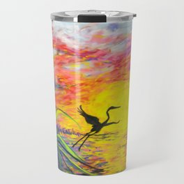 Sandhill Crane in the Sunset by annmariescreations Travel Mug