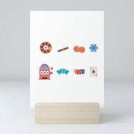 Roulette, Slots, Chips, Dice, Diamond & Cards Nevada Day Mini Art Print