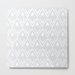Etched Zig Zag Pattern in Gray Metal Print