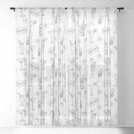 Cocktails glasses black on white - Cheers Sheer Curtain