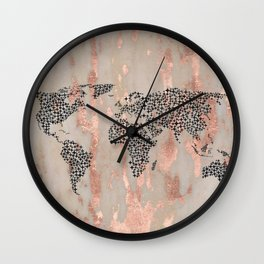 Star Map on Rose Gold Marble Wall Clock