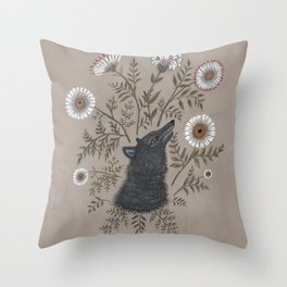 Wolf with Flowers Throw Pillow