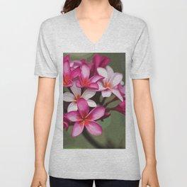 Fuschia Plumeria Illustration Unisex V-Neck