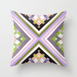 Retro Muted Moss & Lavender Bold Line Motif Throw Pillow