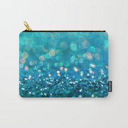 Teal turquoise blue shiny glitter print effect - Sparkle Luxury Backdrop Carry-All Pouch