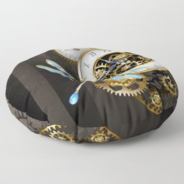 Dials with Dragonfly ( Steampunk ) Floor Pillow