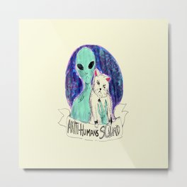 alien and cat anti-human squad Metal Print