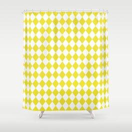 Highlighter Yellow Modern Diamond Pattern on White Shower Curtain