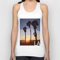 santa monica Tank Tops featuring LA: Santa Monica Beach by Adam Stuart