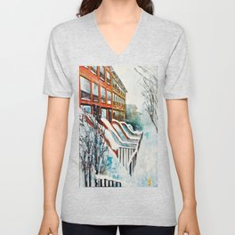 Brooklyn New York In Snow Storm Unisex V-Neck