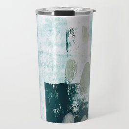 023.2: a vibrant abstract design in teal green and yellow by Alyssa Hamilton Art  Travel Mug