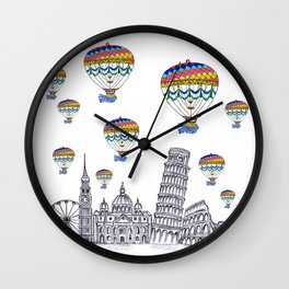 Travel with Air Balloons Wall Clock