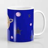 saturn Mugs featuring Saturn by Probably Plaid