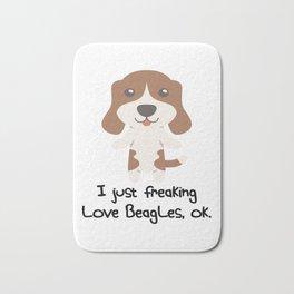 I Just Freaking Love Beagles Cute Dog Design Bath Mat