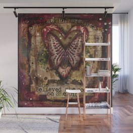 She Believed red butterfly mixed media Wall Mural