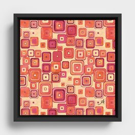 Watercolour Squares Red Amanya Design Framed Canvas