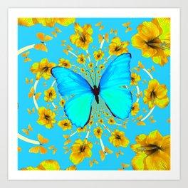 BLUE BUTTERFLY YELLOW AMARYLLIS PATTERNED ART Art Print