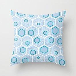 Honeycomb pattern design over light blue background. Throw Pillow
