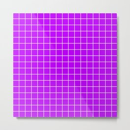 Electric purple - violet color - White Lines Grid Pattern Metal Print