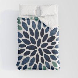 Flower Bloom, Aqua and Navy Duvet Cover