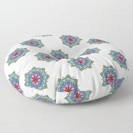 Colourful Botanical Mandala Floor Pillow