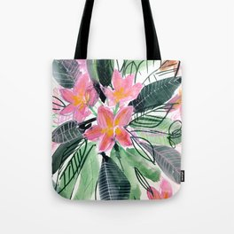 Tropical Flowers: Frangipani Tote Bag