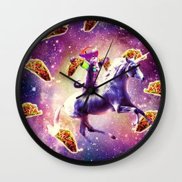 Rave Space Cat On Unicorn - Taco Wall Clock