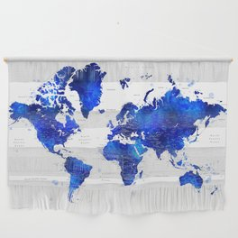 """Navy blue and cobalt blue watercolor world map with cities labelled, """"Carlynn"""" Wall Hanging"""