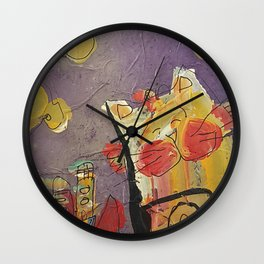 Cat in the city Wall Clock