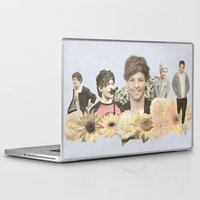 louis tomlinson Laptop & iPad Skins featuring Louis Tomlinson + Flowers  by Ladsandstuff