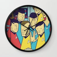 ale giorgini Wall Clocks featuring Star Trek by Ale Giorgini