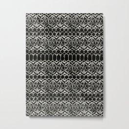 tie dye geometric line in black and white Metal Print