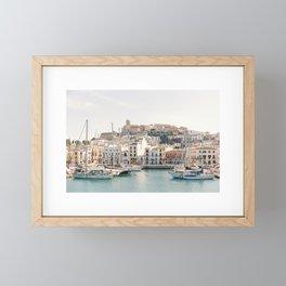 "Travel photography ""Old Town Dalt Vila"" | Modern wall art Ibiza Spain Port pastel tones coast Framed Mini Art Print"