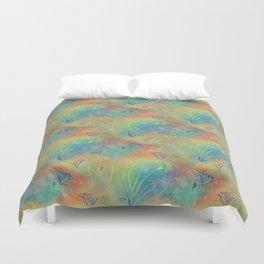 Rainbow Sparkles Leaves Flowers Duvet Cover