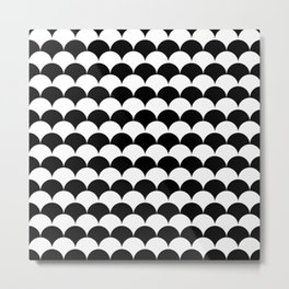 Black and White Clamshell Pattern Metal Print