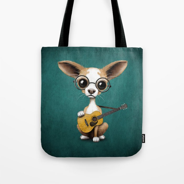 Chihuahua Puppy Dog Playing Old Acoustic Guitar Teal Tote Bag
